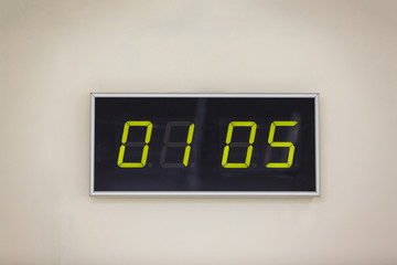 Black digital clock on a white background showing Holiday, labor,