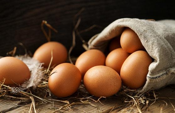 Frische braune Eier