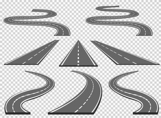 Set of roads and road bends. Vector illustrations EPS10