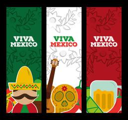 viva mexico vertical banners man skull beer culture vector illustration