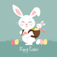 Easter bunnies with eggs, Easter greeting card, vector illustration