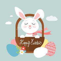 Easter bunny in a basket, vector illustration