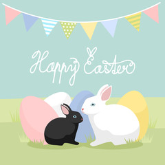 Easter bunnies with eggs, vector illustration