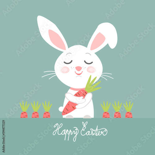 Easter bunny with carrot psd template for business christmas card easter bunny with carrot psd template for business negle Images