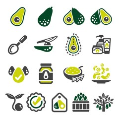 avocado icon set