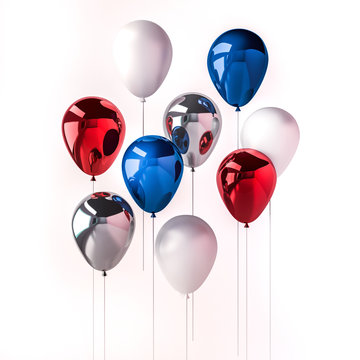 Set of dark blue, red and white glossy balloons on the stick with sparkles on white background. 3D render for independence day, labor day and other celebration. Illustration for social media promo.