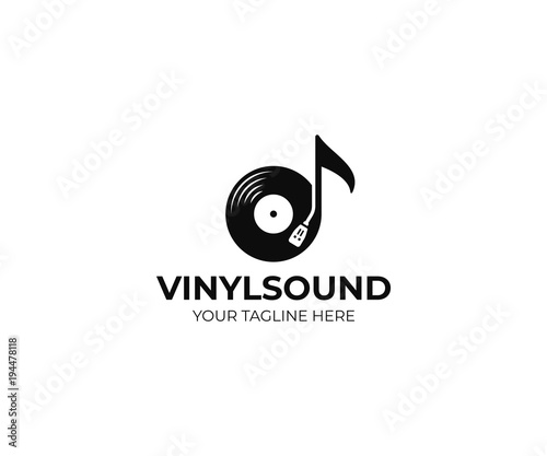 Music Logo Template Musical Note And Vinyl Record Vector Design