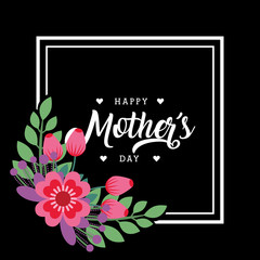 happy mothers day greeting card bunch flowers frame decoration dark background vector illustration