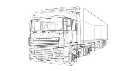 Large truck with a semitrailer. Template for placing graphics. 3d rendering.