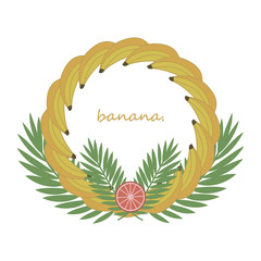 Bright positive colorful summer cheerful tropical wreath of fruits