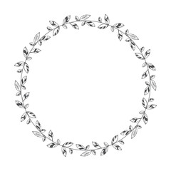 vector hand drawn floral wreath, round frame with leaves, decorative design element, illustration