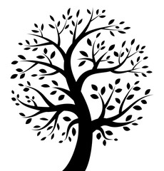 Black Tree icon. Vector illustration