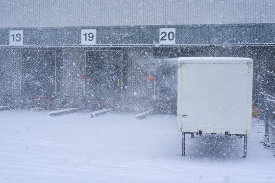 Loading dock at a warehouse.