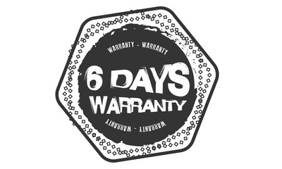 6 days warranty icon vintage rubber stamp guarantee