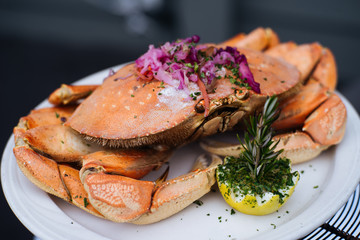 Crab dishes at Pacific ocean west coast cafes