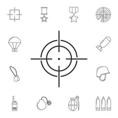 Target icon, sight sniper symbol line icon.Element of popular army  icon. Premium quality graphic design. Signs, symbols collection icon for websites, web design,