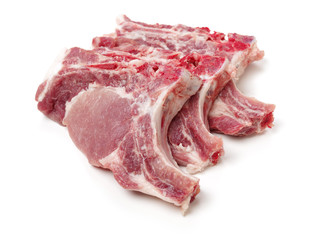 Pork steaks on white background