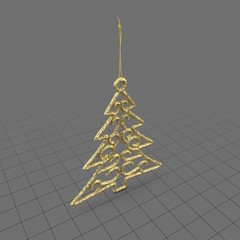 Gold tree holiday ornament
