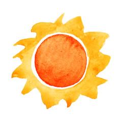 Watercolor sun. Vector illustration