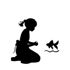 Silhouette girl sitting knees wish agoldfish