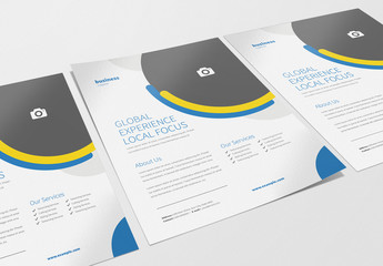 Business Flyer Layout with Blue and Yellow Accents 1