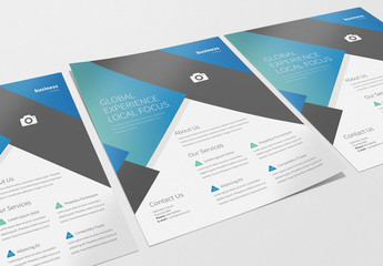 Business Flyer Layout with Blue Gradients 1