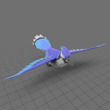 Stylized blue bird flying