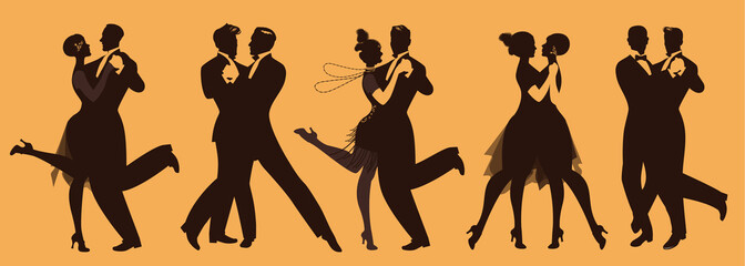 Fototapete - Silhouettes of five couples wearing clothes in the style of the twenties dancing retro music
