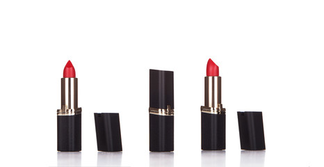 Beautiful red lipstick isolated on white,close up of a lipstick