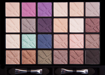 Make-up colorful eyeshadow palettes isolated on black background,Professional makeup colorful palette