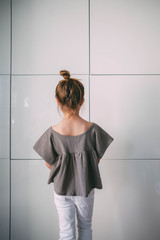 Portrait of Young Girl Modeling Stylish Clothes