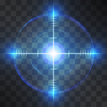 Shining blue reticle, target screen, successful aim detection, symbol of business or military accuracy, technology interface, sport competition, correct decisions or information discover.