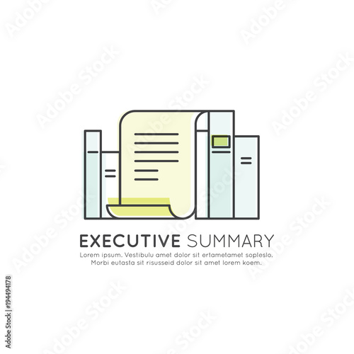 vector icon style illuetration icon of executive summary section document in front of books with data