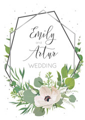 Wedding invitation, invite save the date card design with light pink anemones, eucalyptus leaves, white lilac flowers, greenery herbs decorative wreath & silver grey geometrical frame. Rustic template