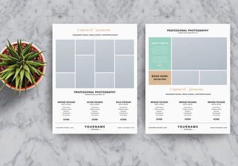 Photography Business Flyer Layout with Green and Gold Accents