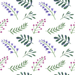Watercolor pattern of flowers, berries and leaves