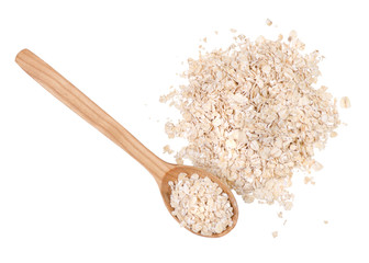 Porridge oat flakes wooden spoon