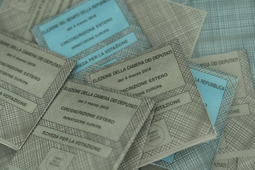 stack of ballot papers for Italian elections 2018