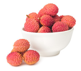 Lychees fruits in bowl isolated