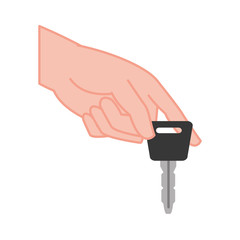 color shadow hand with car key security object