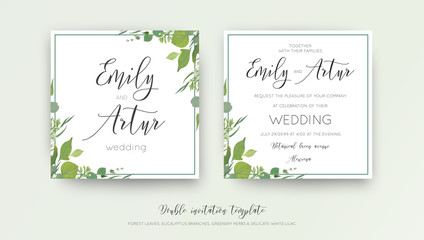 Wedding floral watercolor style double invite, invitation, save the date card design with forest greenery, herbs, leaves, eucalyptus branches, white lilac flowers. Vector, botanical, elegant template