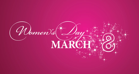 Womans Day 8 March white stars logo pink greeting card beautiful calligraphy