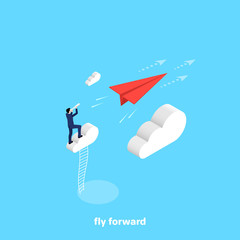 a man in a business suit stands on a cloud and looks in a telescope on a flying paper plane, an isometric image