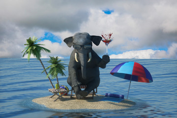 3D Illustration of a elephant sits on the beach overlooking the resort and the sea