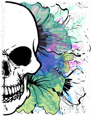 Skull Watercolor T shirt Graphic Design