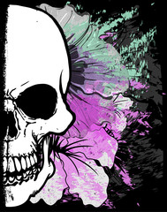 Tuinposter Aquarel schedel Skull Watercolor T shirt Graphic Design