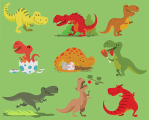 Cartoon vector dinosaur tyrannosaurus rex character dino and jurassic tyrannosaur attacking illustration set of ancient animal old reptyle with teeth hunter, sleep, open mouth and eggs isolated