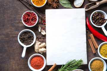 Canvas Prints Spices Open recipe book with fresh herbs and spices