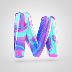 Glossy holographic letter M uppercase isolated on white background