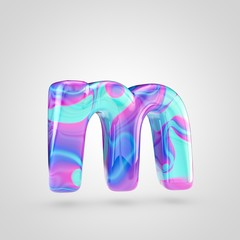Glossy holographic letter M lowercase isolated on white background